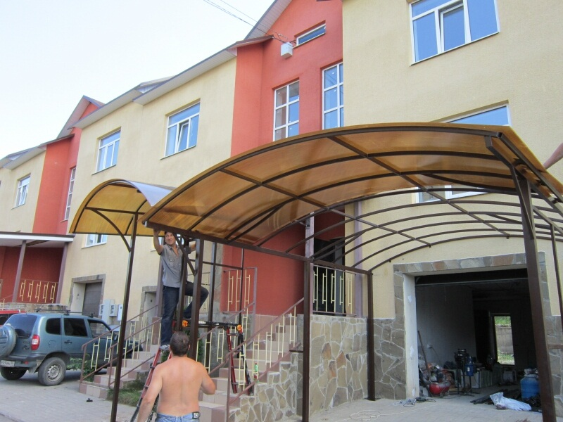 Навесы на крыльцо из поликарбоната фото к частному дому своими руками 8